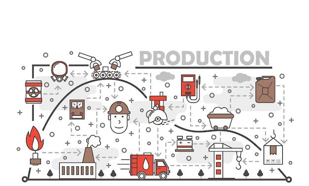 Vector dunne lijn kunst productie illustratie