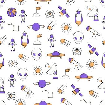 Vector dunne lijn kunst ruimte naadloze patroon