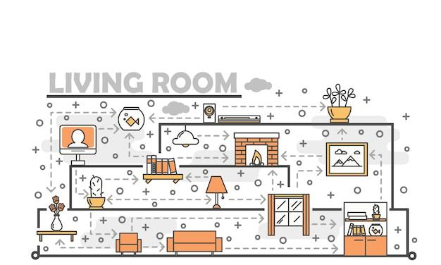Vector dunne lijn kunst woonkamer illustratie
