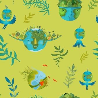 Vector ecologisch naadloos patroon met leuke gelukkige en welvarende aarde in harmonie