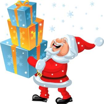 Vector een gelukkige kerstman brengt in de handen van vele geschenken