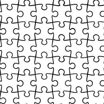 Vector eenvoudig naadloos patroon van zwart-witte puzzels. een gestructureerde achtergrond van onderdelen voor een puzzel.