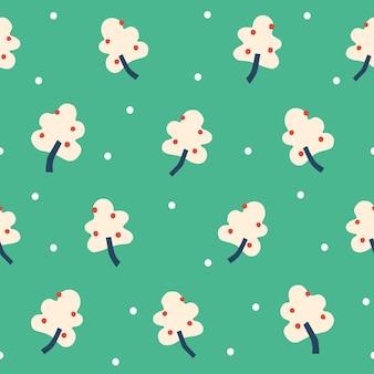 Vector eenvoudige bessenboom met sneeuwmotief illustratie naadloze herhaling patroon groene achtergrond