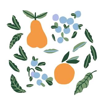 Vector eenvoudige en moderne oranje peer blauwe bes en blad illustratie grafische bron