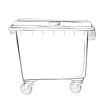 Vector eenvoudige hand tekenen schets, grote schone lege prullenbak op witte achtergrond
