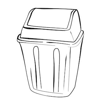 Vector eenvoudige hand tekenen schets, schone lege prullenbak op witte achtergrond