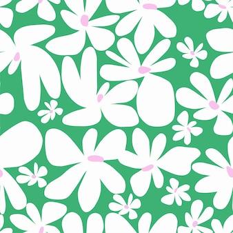 Vector eenvoudige vorm scandinavische bloemmotief naadloze herhaling patroon roze achtergrond