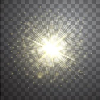 Vector effect van gouden lens flare zonnestraal op transparante achtergrond