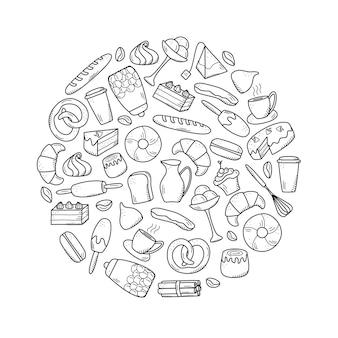 Vector-elementen van zoete snacks en gebak, koffiegerechten. uitstekend geschikt voor het decoreren van cafés en menu's. doodle pictogramstijl.