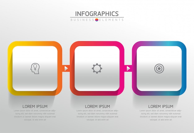 Vector-elementen voor de infographic. presentatie en grafiek. stappen of processen. 3 stappen.