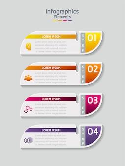 Vector-elementen voor de infographic. presentatie en grafiek. stappen of processen. 4 stappen
