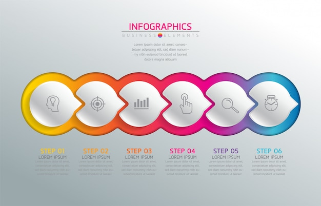Vector-elementen voor de infographic. presentatie en grafiek. stappen of processen. 6 stappen