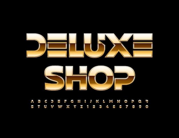 Vector elite banner deluxe winkel met gouden alfabetletters en cijfers ingesteld premium glanzend lettertype