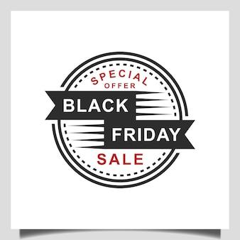 Vector embleem cirkel ontwerp voor mega verkoop, korting, winkelen, zwarte vrijdag verkoop badge logo sjabloon