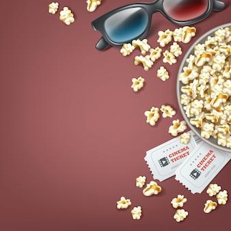Vector emmer popcorn met 3d-bril en twee bioscoopkaartjes close-up bovenaanzicht geïsoleerd op een grijze achtergrond