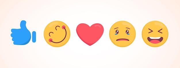 Vector emoji-collectie met verschillende reacties voor sociale media. schattig plat gezicht geïsoleerd op een witte achtergrond. moderne emoticons. Premium Vector