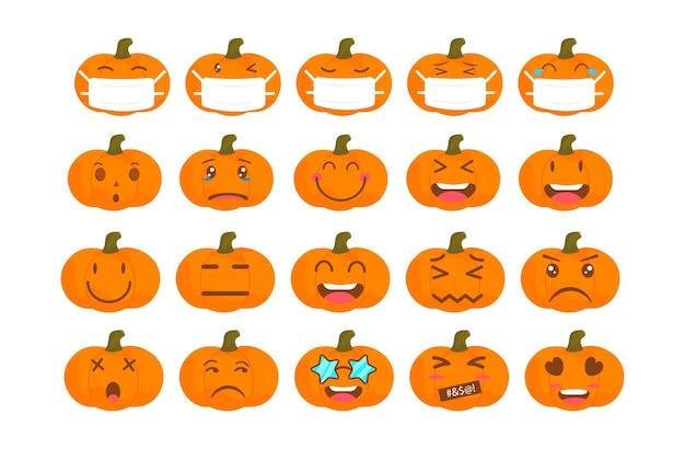 Vector emoji pompoen halloween collectie met verschillende reacties voor sociale media. schattig plat gezicht geïsoleerd op een witte achtergrond. moderne emoticons.