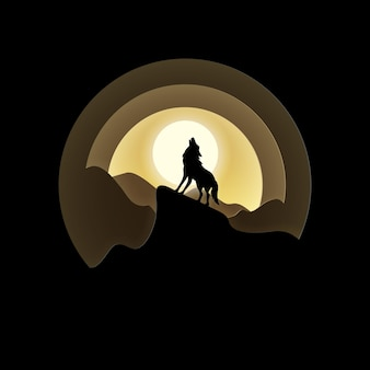 Vector- en digitale ambachtelijke stijl van volle maan met wolf die 's nachts huilt.