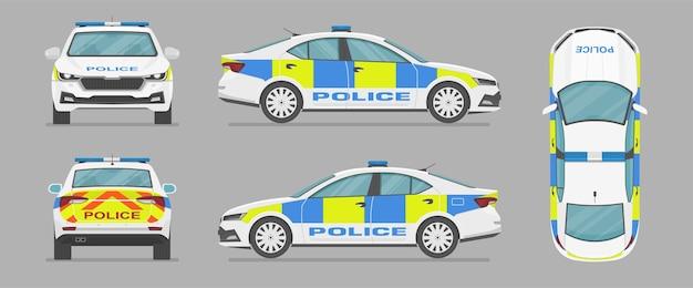 Vector engelse politieauto zijaanzicht vooraanzicht achteraanzicht bovenaanzicht