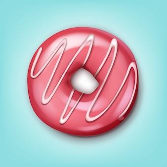 Vector enkele donut met roze suikerglazuur en witte strepen bovenaanzicht geïsoleerd op blauwe achtergrond