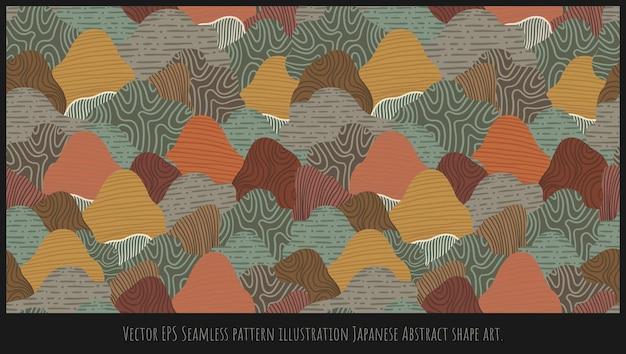Vector eps naadloze patroon illustratie japanse berg abstracte vorm kunst.