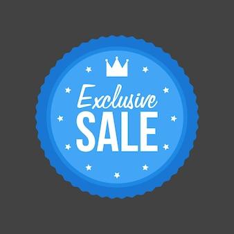 Vector exclusieve verkoop plat blauw bord, ronde label.