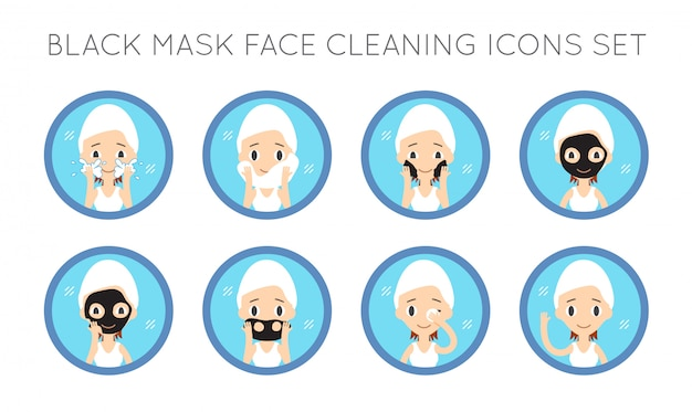 Vector face cleaning and care actions set