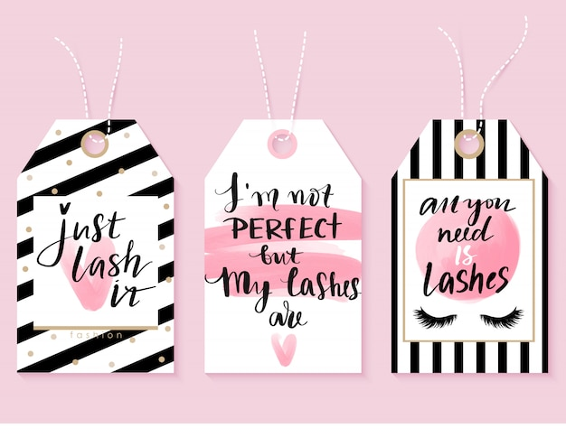 Vector fashion tags met lashes citaten. kalligrafie zin voor lash makers
