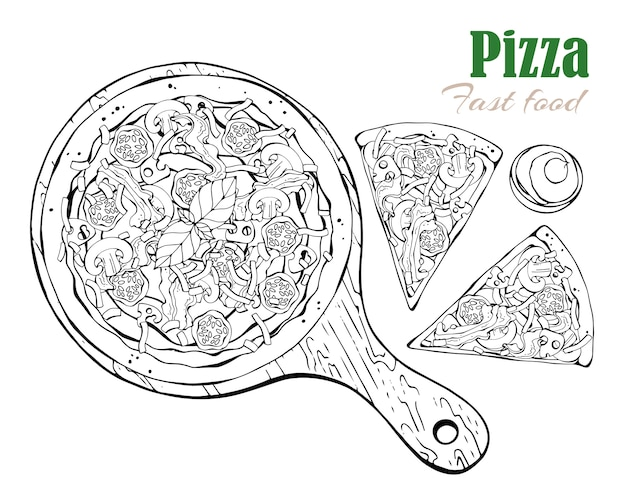 Vector. fastfood thema: pizza op een bord.