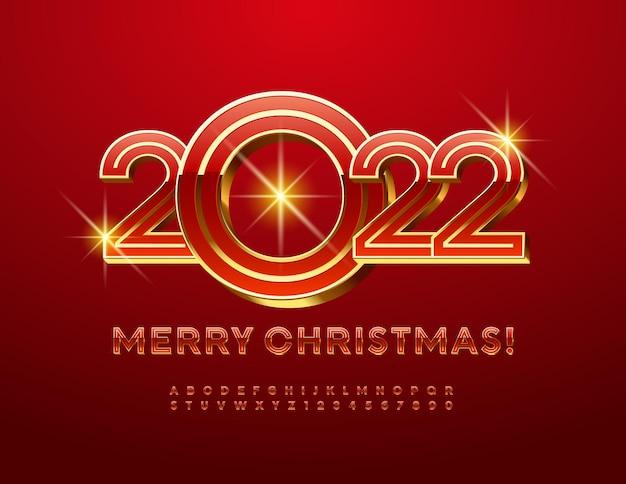 Vector feestelijke wenskaart merry christmas 2022 rode en gouden premium alfabetletters en cijfers