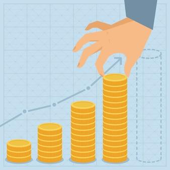 Vector financieel businessplan - hand die gouden muntstuk in vlakke retro stijl houdt