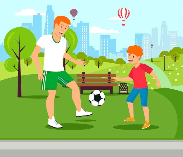 Vector flat dad teaches speelt voetbal met zoon.