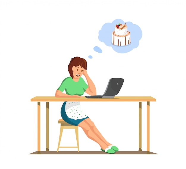 Vector flat housewife watch online cook courses.