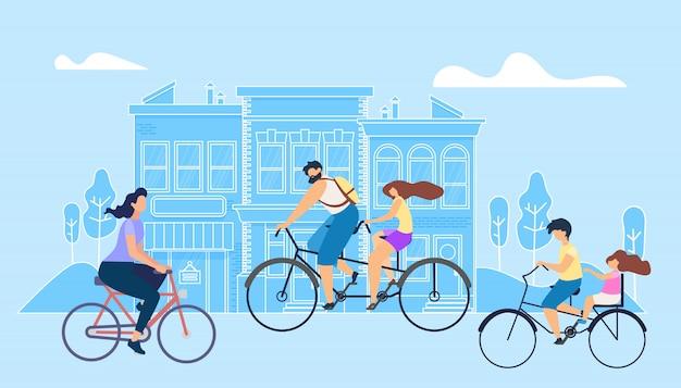 Vector flat illustratie meisje riding bike work.