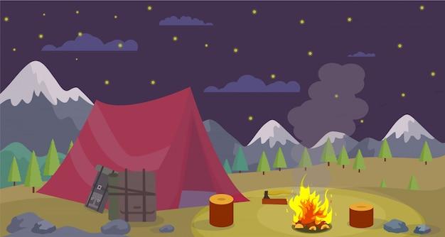 Vector flat night camping bergen branden kampvuur.