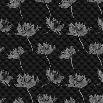 Vector floral achtergrond. grafische bloemen op zwart