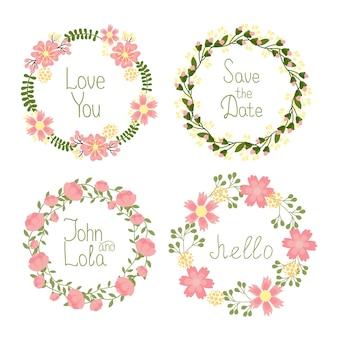 Vector floral frame kransen instellen voor huwelijksuitnodigingen