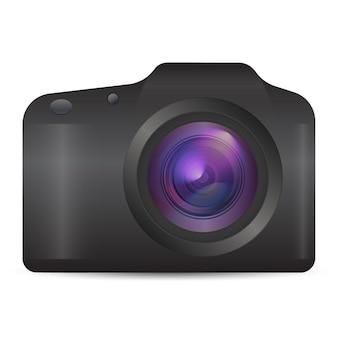 Vector fotocamera realistische 3d analoge camera-pictogram in vooraanzicht geïsoleerd op een witte achtergrond