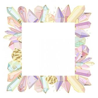 Vector frame, gemaakt van kristallen, edelstenen
