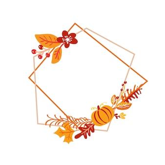 Vector frame herfst boeket krans. oranje bladeren, bessen en pompoen geïsoleerd op een witte achtergrond. perfect voor seizoensgebonden feestdagen, thanksgiving day.
