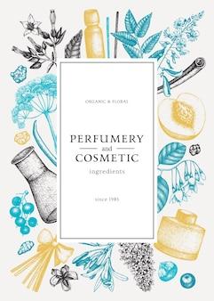 Vector frame met geurige vruchten en bloemen parfumerie en cosmetica ingrediënten illustratie aromatische en geneeskrachtige planten ontwerpen botanische sjabloon voor uitnodiging of wenskaart
