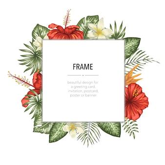 Vector frame sjabloon met tropische bladeren en bloemen met witte plek voor tekst. vierkante lay-outkaart met plaats voor tekst. lente of zomer ontwerp voor uitnodiging, bruiloft, feest
