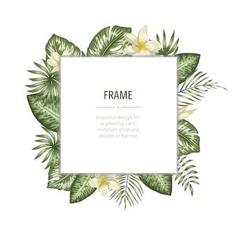 Vector frame sjabloon met tropische bladeren en bloemen met witte plek voor tekst. vierkante lay-outkaart met plaats voor tekst. lente of zomer ontwerp voor uitnodiging, bruiloft
