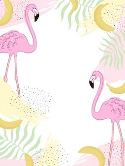 Vector frame tropic flamingo zomer.