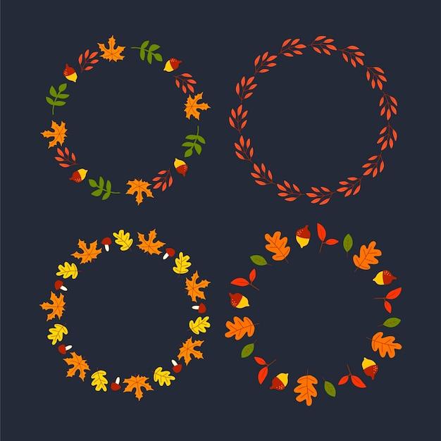Vector frame van herfstbladeren en fruit in aquarel