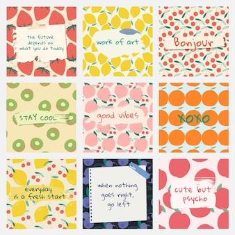 Vector fruit patroon offerte sociale media advertenties sjabloon set
