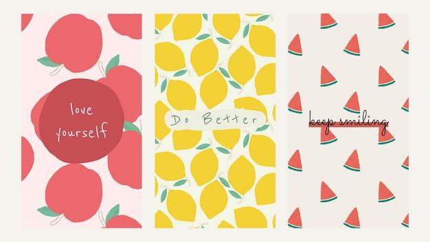 Vector fruit patroon offerte sociale media verhaal sjabloon set