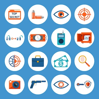 Vector geassorteerde spionaccessoires en gadgetpictogrammen geïsoleerd op blauwe achtergrond.