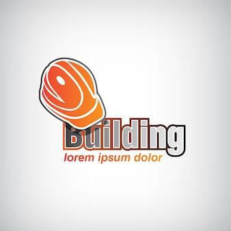 Vector gebouw pictogram, logo voor bedrijf met helm geïsoleerd