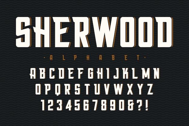 Vector gecondenseerd origineel lettertype met alfabet, charact